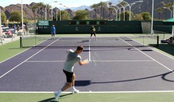 Тренировка Томаша Бердыха на турнире в Индиан-Уэллсе
